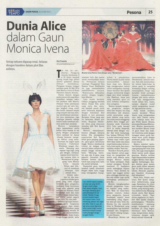 Koran Tempo : Dunia Alice dalam Gaun Monica Ivena
